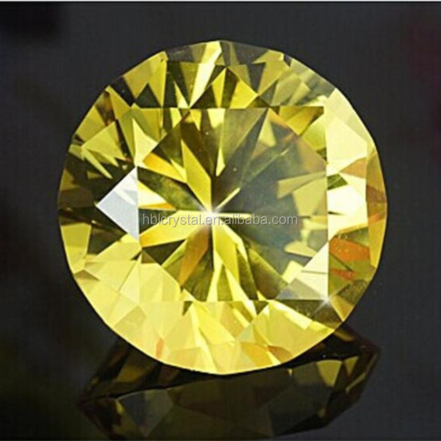 50mm crystal diamond glass yellow crystal diamond cheap wedding returning gift for guest with gift box