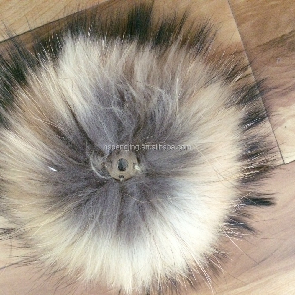 wholesale raccoon fur pom poms with snap for hat