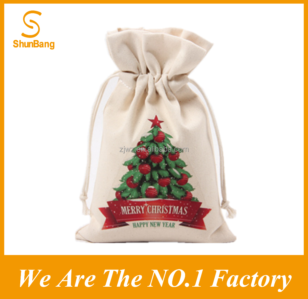 2016 cotton drawstring christmas gift pouch bag