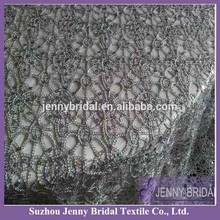TL001B Silver Chemical Lace Embroidery Fabric Sequin Table Overlay