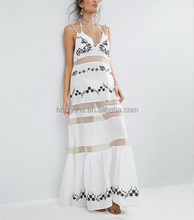 China Girls Photos Without Sleeves Mesh Panel Beach Embroidered Maxi Dress hsd2096