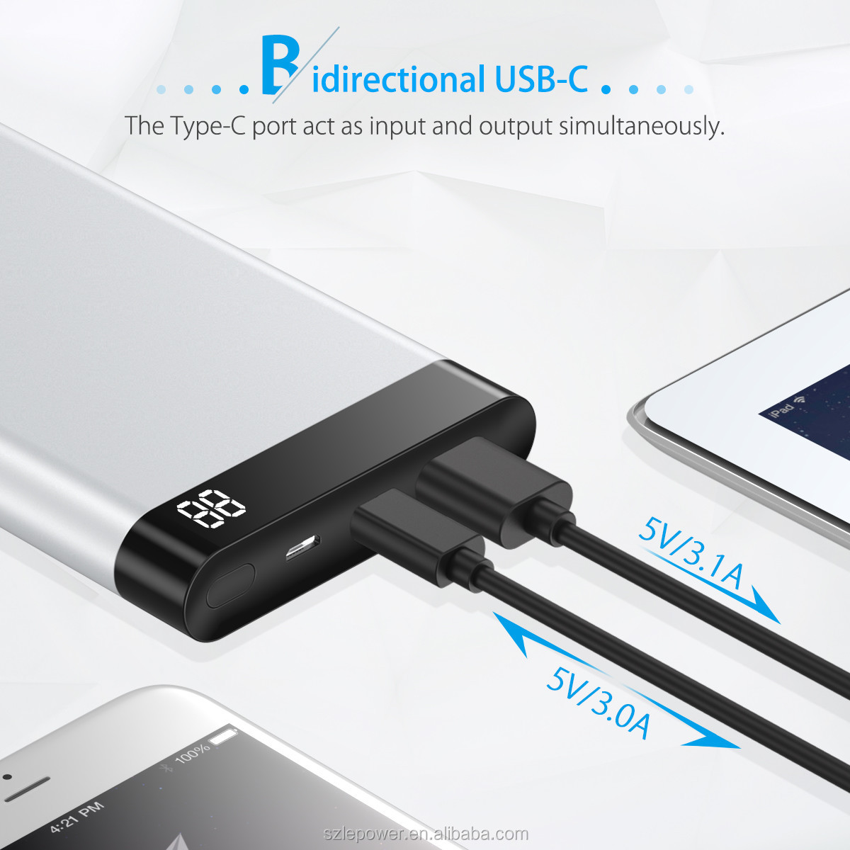 Poweradd 10000mAh Mobile Power Bank with USB-C Input and Output 5V/3A External Battery Charger