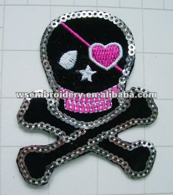 Embroidered biker skull patch with beaded applique