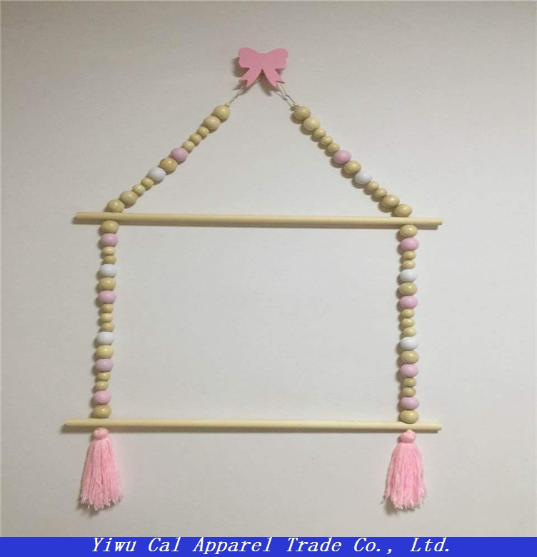 Wooden handicrafts Makkalong beads hanger children's room decoration
