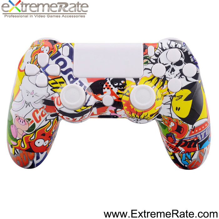 Hydro Dipped Graffiti Controller Shell Replacement Housing for PS4 Controller