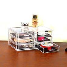 Fashion 6 drawer clear acrylic case makeup jewelry display organizer