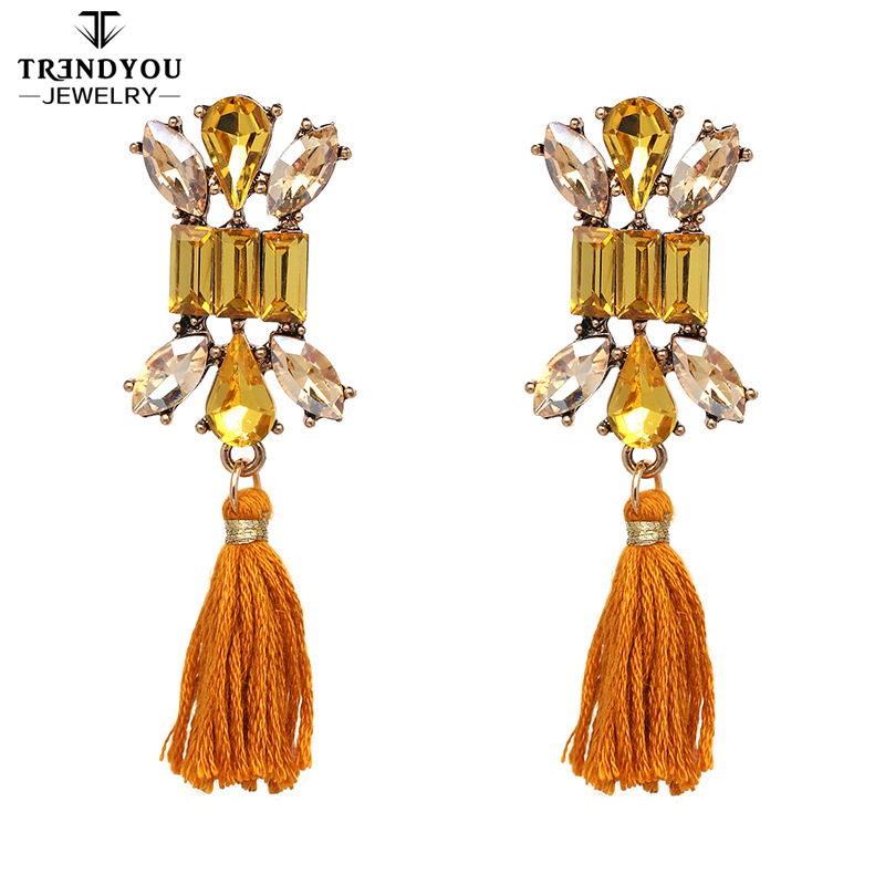 Hot Selling 2018 New Arrivals Tassel Earring For Women Earrings With Crystal Elements