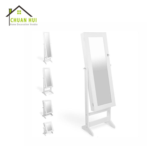 Bed Affordable Floor Standing Cheval Mirror Jewelry Armoire White