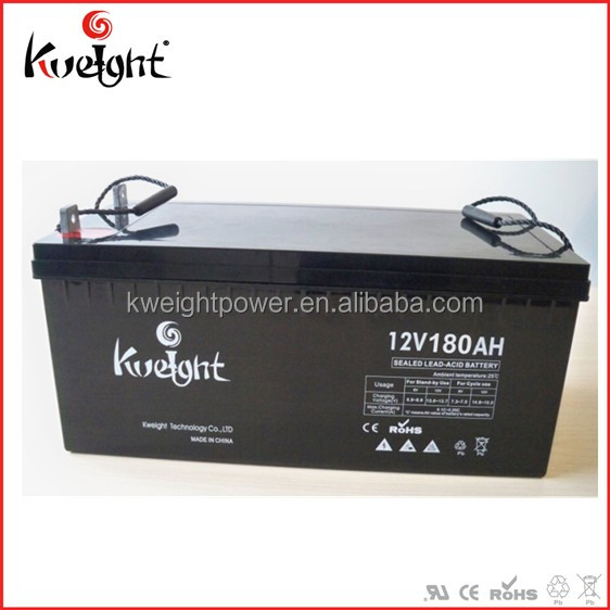Kweight gel sealed lead acid battery 12V 180AH solar , used in solar system / UPS / inverter / telecom