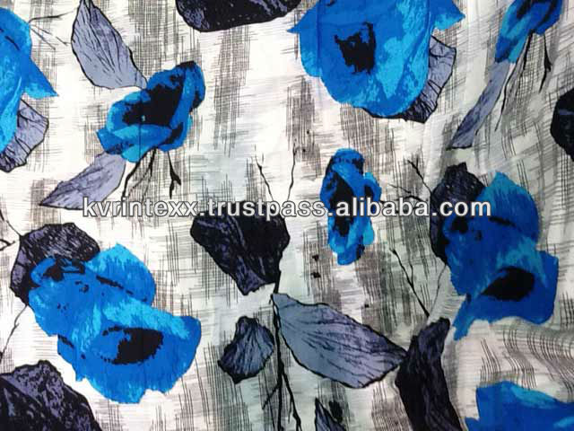 printed silk chiffon fabric with flower pattern