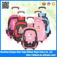 Wholesale fashion girls cute cartoon animal trolley school bag trolley backpack nylon bags made in China