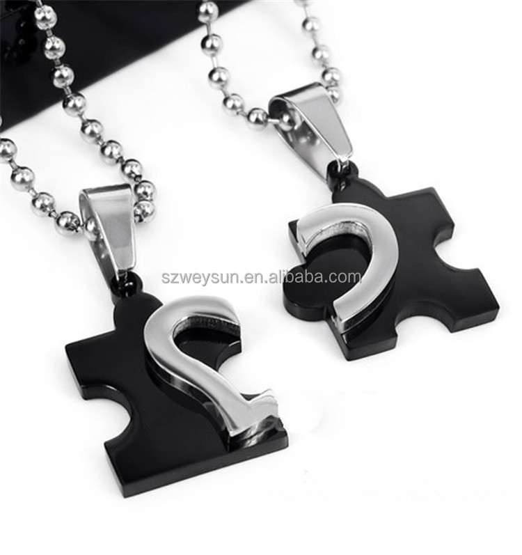 Romantic New Men's Women's Couple Lovers Stainless Steel Love Heart Puzzle Necklaces & <strong>Pendants</strong> For Lover