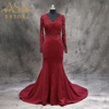 EVZU-1027 New Arrival Long Sleeves Satin Mermaid Wine Turkish Evening Dress With Sleeve