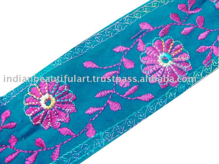 Turquoise Velvet Garment Trim Lace Embroidery Sewing