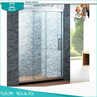 Aluminum triple door link sliding shower cubicle screen with tempered clear glass M-13032
