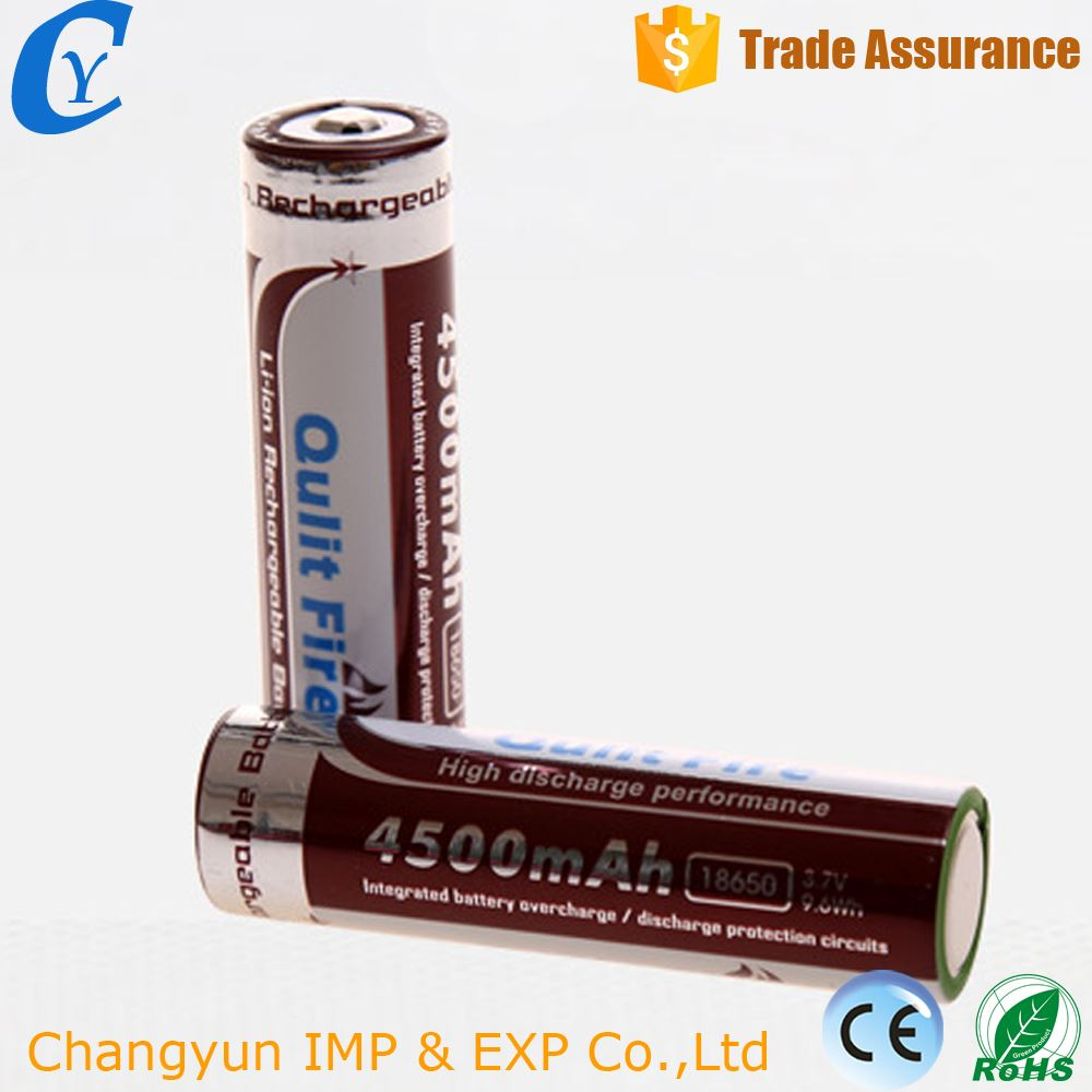 High capacity good 3.7v Rechargeable 18650 li-ion battery for flashlight