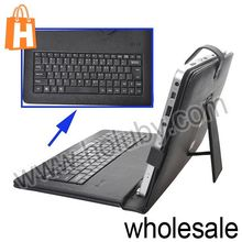 "For 10"" Inch Tablet PC Wired Micro USB 2.0 Keyboard +Folio Stand Leather Case Cover"