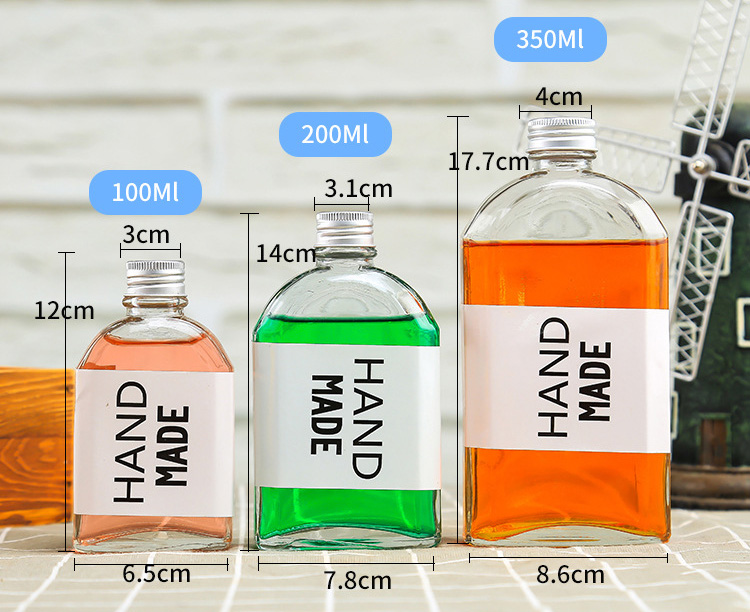 New Fashion 100ml 200ml 250ml Flat Glass Hip Flask Cold Brew Coffee Bottles Coffee Glass Bottle