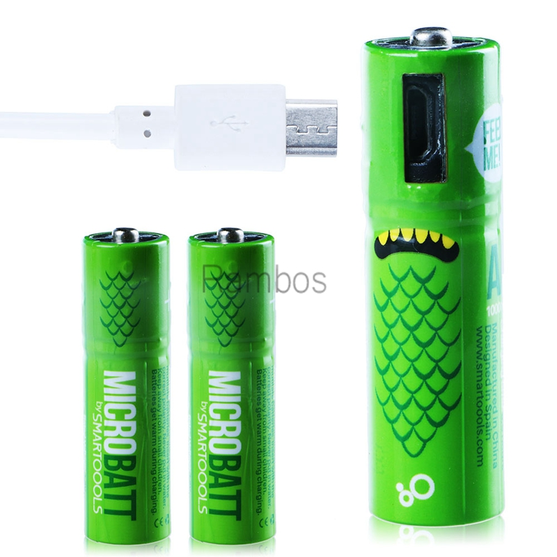 1000mAh Micro USB Battery AA Rechargeable Batteries with USB Charging Cable