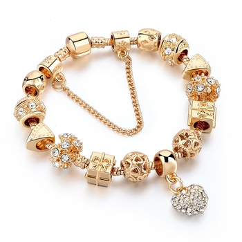 Long way jewelry gold plated luxury multi charms beaded bangle bracelet heart charm, gold jewelry bracelet