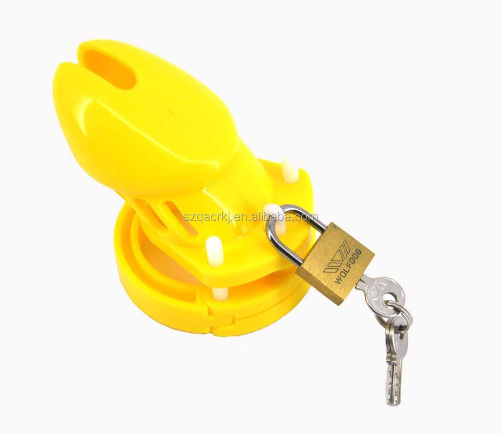 Yellow color medical plastic cock cage CB6000s male chastity device penis lock cock ring sleeve sex products for man 5 size