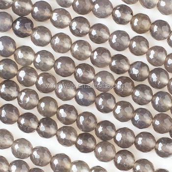 Natural agate gemstone grey agate round faceted beads