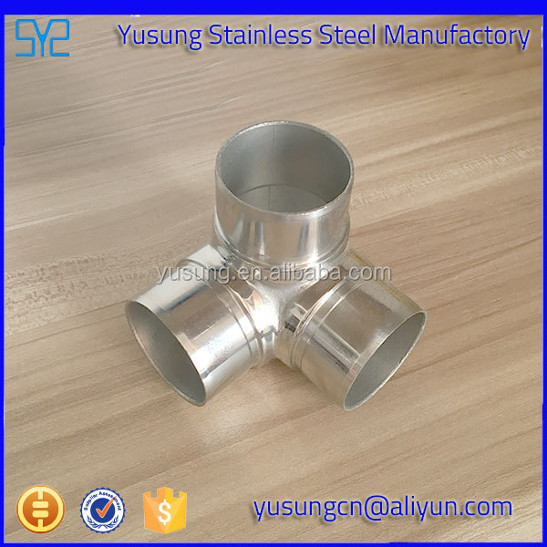Stainless steel 3 way round tube connector/Pipe connector/90 degree type