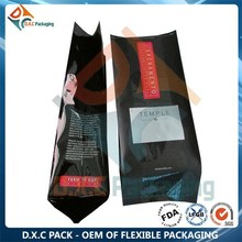 Aluminum Foil Quad Heat Seal Side Gusset Bags Coffee Packaging