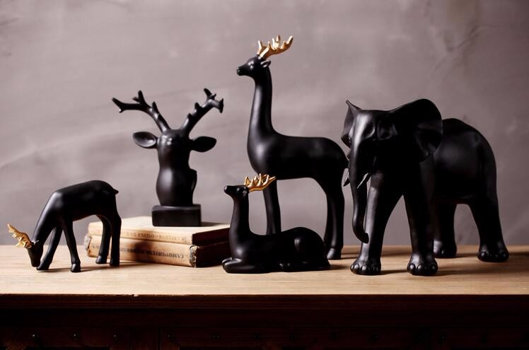 Home decoration wholesale crafts sculpture resin deer figurines