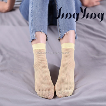 high fashion women sexy lemon yellow ankle socks