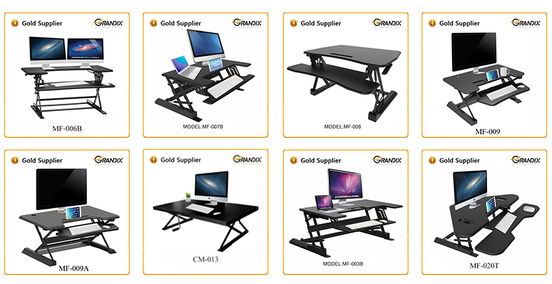 "36"" Wide Platform Height Adjustable Folding Standing Desk Riser and laptop desk converter table with Removable Keyboard Tray"