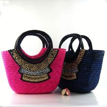 Wholesale latest fashion straw woven straw bag handbag/shoulder paper small purse bag
