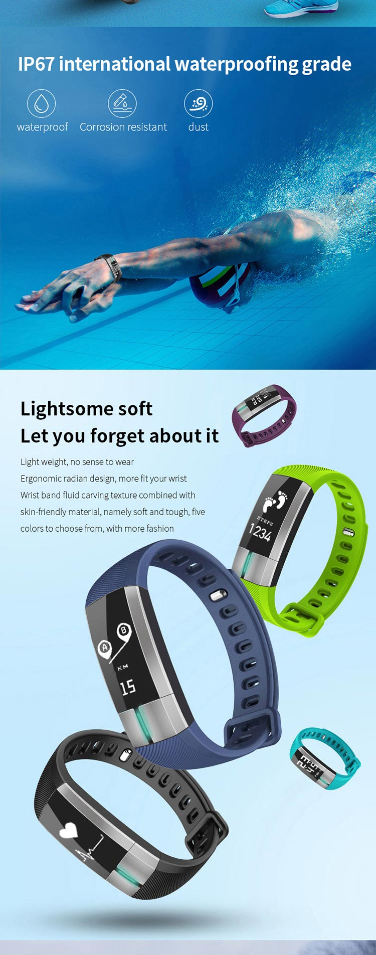 iOS Android ECG Heart rate monitor Smart watch Band