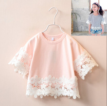 F10105A 2016korean style summer newest loose casual lace blouse for children