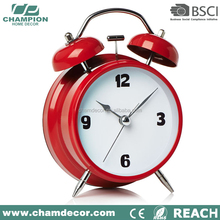 China metal double bell vintage modul decoration alarm clock , simple black mental alarm clock for kids