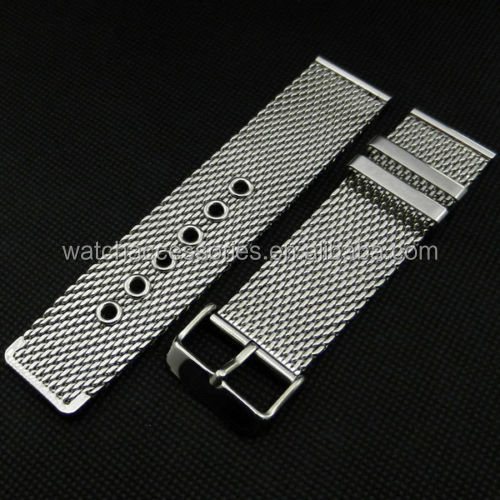 Wholesale Silver 20/22/24/26mm Stainless Steel Wrist Watch Mesh Band Buckle