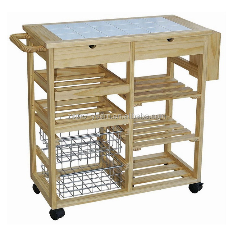 Wood kitchen service trolley cart with 4 tiers 2 drawers 2 for Kitchen trolley design