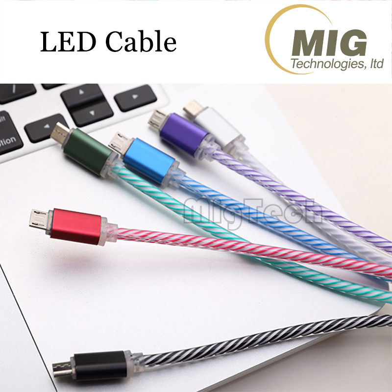 Micro Android mobile data cable USB charging data cable charger with LED flash