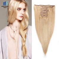 Promotion Double Drawn Remy Clip in Hair Extensions 220gram thick human hair clip in hair