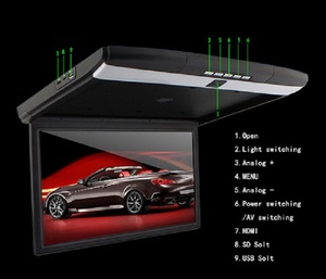 VCAN1329 17.3inch high-definition screen car flip down Roof mount lcd monitor with MP5 HD USB SD