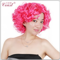 short pink Marilyn Monroe tight synthetic curly hair wig