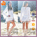 2017 hot selling women's sexy long sleeve lace mini dress with tassels for summer beach girls