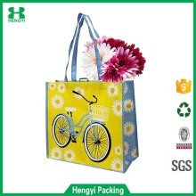 Large Summer Reusable Shopping Tote Bag with Bicycle Print