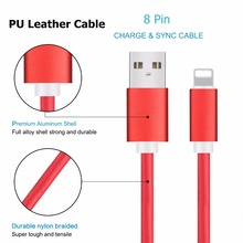New Trend 2017 2.4A PU Leather 1M/3FT 8 Pin USB Data Cable Cord Line For Iphone 7 6 5 7 Plus
