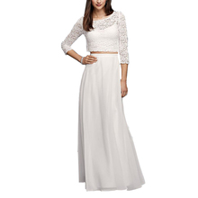 High Quality Elegant Sheer Mesh And Lace Long Skirt And Blouse Designs