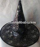 Halloween silver foil witch hat with spider web printing