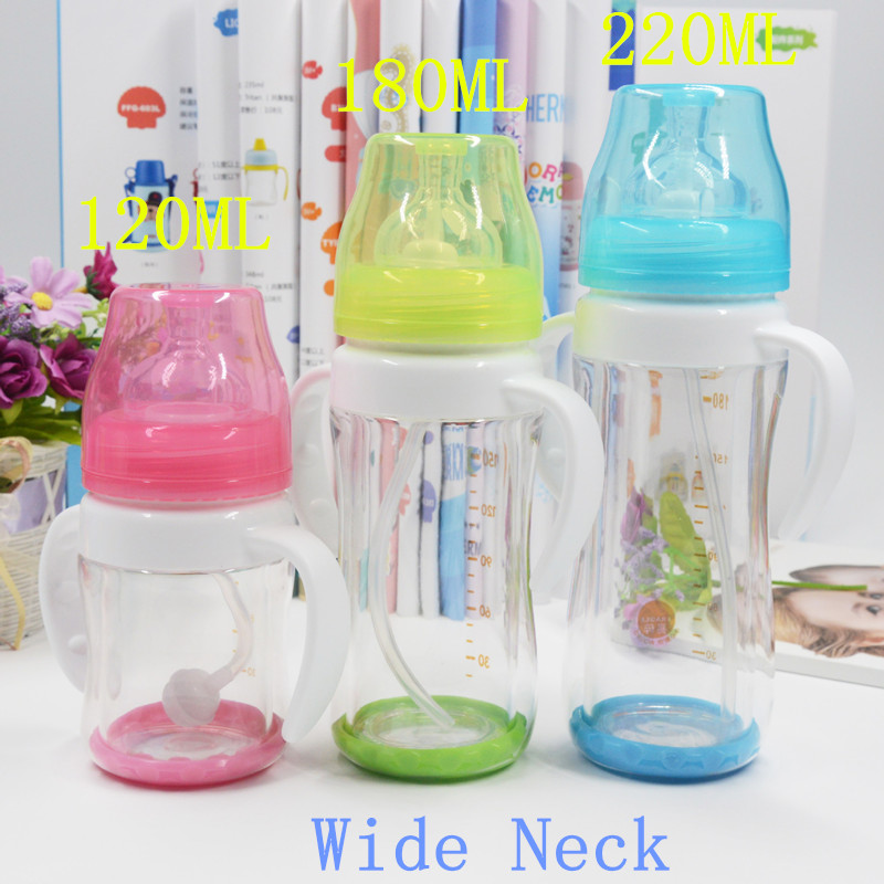 2017New Products unbreakable baby high borosilicate glass feeder with PC outer shell
