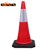 29.5 inch PE red road warning reflective traffic cone with rubber base