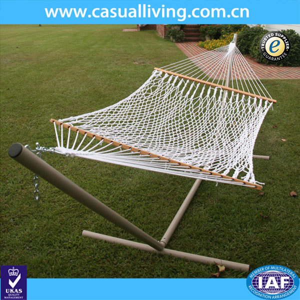 Factory Production Garden White Cotton Rope Hammocks With Stands