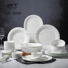 38pcs Hot Selling Plain White Fine Bone China used restaurant dinnerware